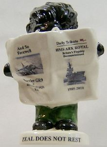 Carlton Ware Small Golly Newsreader - Ark Royal & Harrier GR9 Disbandment  (2) SOLD